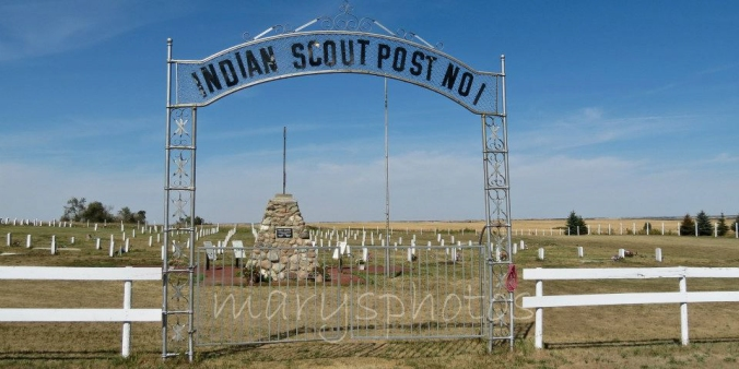 Indian Scout Post #1 on the Fort Berthold Indian Reservation between White Shield and Parshall is a nearly forgotten veteran cemetery. The Old Scout Society has kept alive the memory of the tribal members who served in the U.S. Army since the time of General Custer. (photo courtesy of Mary Tastad of Mary's Photos)