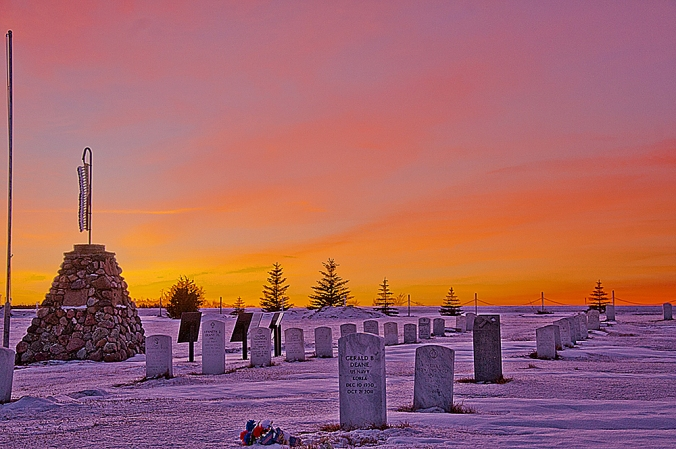 The Indian Scout Cemetery, also known as the Old Scouts Cemetery is near White Shield, North Dakota. On New Years Eve, 2014, it stood quietly against the setting sun.